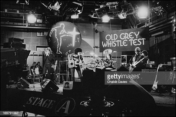 Huey Hewis Phil Lynott Brian Downey Billy Bremner and Darren Wharton perform 'Ode to a Black Man' on the BBC TV music show 'The Old Grey Whistle...