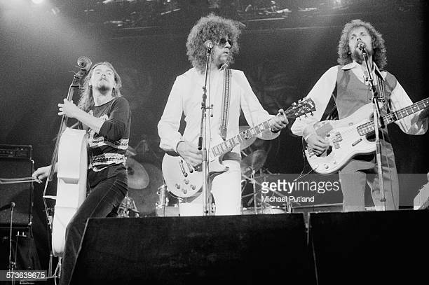 Hugh McDowell Jeff Lynne and Kelly Groucutt performing with British rock group the Electric Light Orchestra 21st June 1976