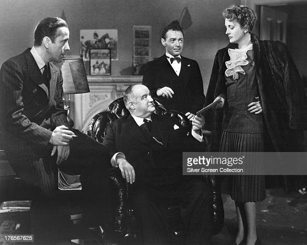 Humphrey Bogart as Sam Spade Sydney Greenstreet as Kasper Gutman Peter Lorre as Joel Cairo and Mary Astor as Brigid O'Shaughnessy in a publicity...