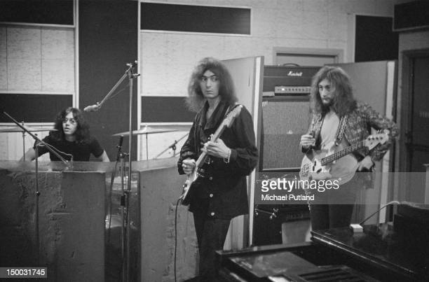 Ian Paice Ritchie Blackmore and Roger Glover of British rock group Deep Purple in a recording studio London 29th September 1970
