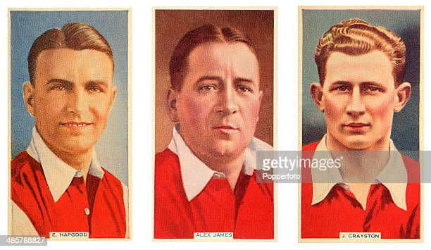 Left to right international footballers Eddie Hapgood Alex James and Jack Crayston of Arsenal FC featured on vintage cigarette cards published circa...