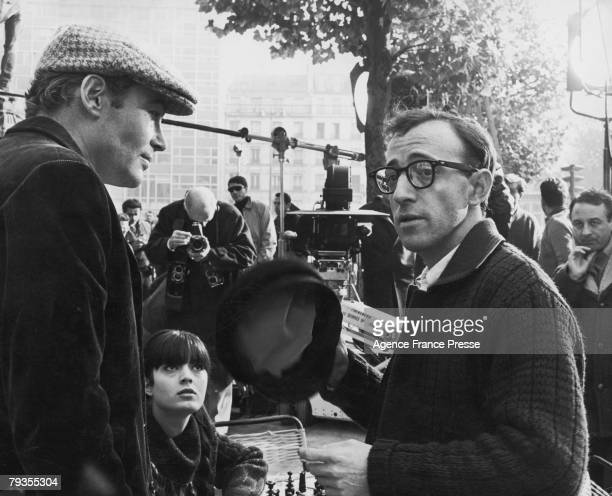 Irish actor Peter O'Toole French actress Nicole Karen American actor writer and comedian Woody Allen and English director Clive Donner in...