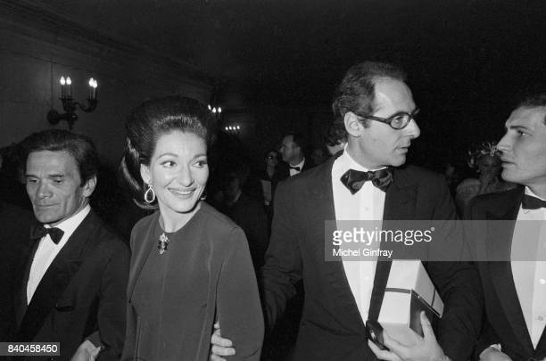 The italian film director Pier Paolo Pasolini, the Greek Opera singer Maria Callas and the film producer Franco Rossellini,and at the première of the...