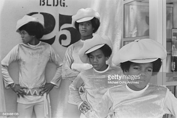 Jackie Jermaine Marlon and Michael Jackson of American pop group The Jackson 5 at ABCTV studios California 9th July 1971 The Jacksons are fiming...