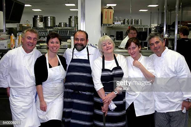 Left to right Jacques Reymond, Brigitte Hafner, Greg Malouf, Stefanie Alexander, Philippa Sibley and Stefano de Pieri at the Epicure 20th Anniversary...