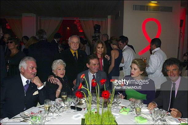 Left to right Jean Claude Brialy Line Renaud Pierre Berge Jean Jacques Aillagon Isabelle Huppert Catherine Deneuve and Jack Lang in Paris France on...