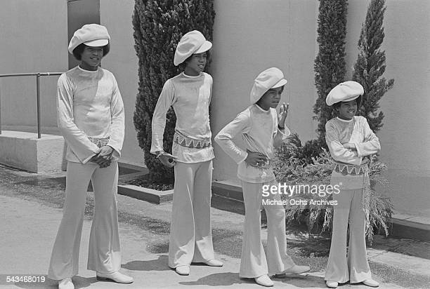 Jermaine Jackie Marlon and Michael Jackson of American pop group The Jackson 5 at ABCTV studios California 9th July 1971 The Jacksons are fiming...