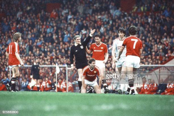 Left to right Jesper Olsen the referee Brian McClair Norman Whiteside and Alan Hansen Manchester United 11 Liverpool League match at Old Trafford...