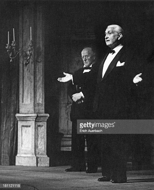 Left to right, John Christie , founder of the Glyndebourne Opera House, and theatrical producer Carl Ebert address the audience at the Glyndebourne...
