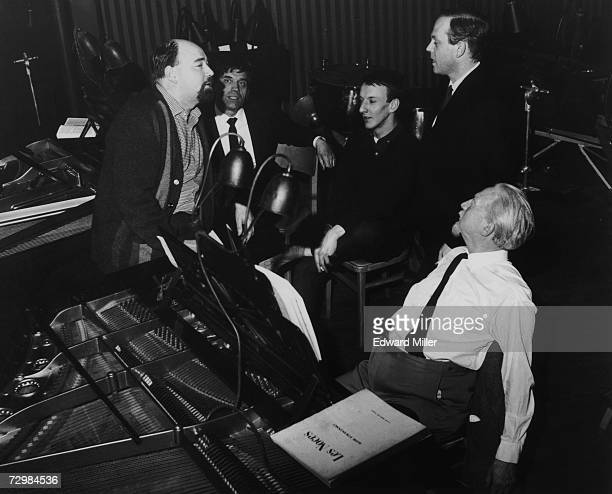 John Lanchbery conductor of the Royal Ballet with composers John Gardner Richard Rodney Bennett Malcolm Williamson and Edmund Rubbra at a rehearsal...