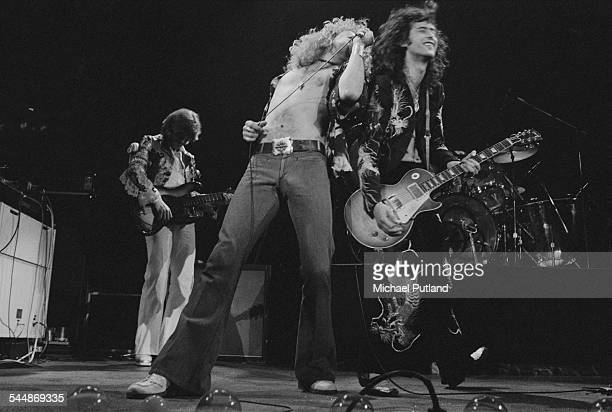 John Paul Jones, Robert Plant and Jimmy Page, of British heavy rock group Led Zeppelin, performing at Earl's Court, London, May 1975. The band were...