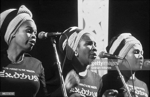 Judy Mowatt Rita Marley and Marcia Griffiths sing backing vocals for Bob Marley and the Wailers in concert at the Rainbow Theatre London 3rd June 1977