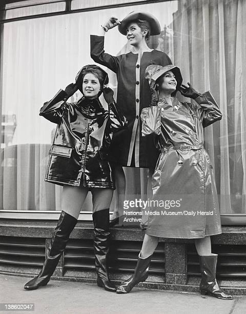 Left to right Judy Wilson wearinng a PVC zipfronted jacket with detachable throat tab Nicky Allen shows a coat with contrasting button panel and...