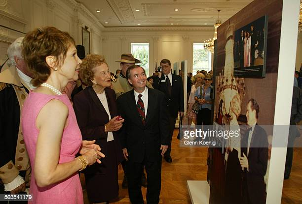 left to right Julie Nixon Eisenhower Katherine B Loker and Congressman Ed Royce as they tour the White House East Room at the Nixon Library in Yorba...