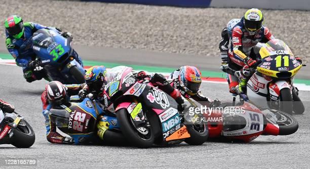 Kalex British rider Sam Lowes, MB Conveyors Speed Up Spanish rider Jorge Navaro and Idemitsu Honda Team Asia Thai rider Somkiat Chantra crash during...