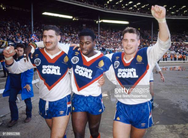 Karl Harrison Martin Offiah and Paul Eastwood of Great Britain rugby league celebrate their 1912 victory over Australia at Wembley Stadium in London...