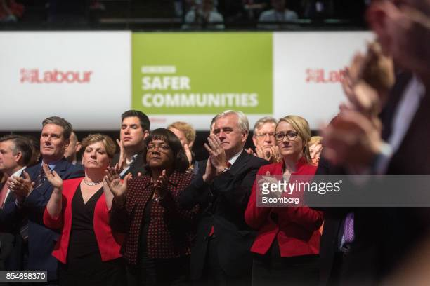 Left to right Keir Starmer UK exiting the European Union spokesman for the opposition Labour Party Emily Thornberry foreign affairs spokeswoman for...