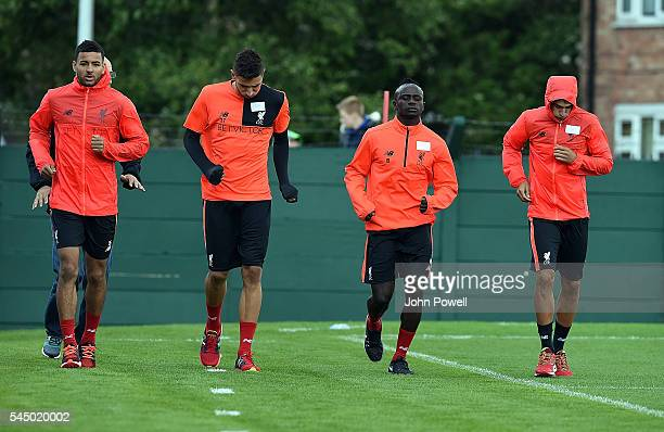 Left to Right Kevin Stewart,Marko Grujic,Sadio Mane and Lazar Markovic of Liverpool durring the first day back at Training in Melwood Training Ground...