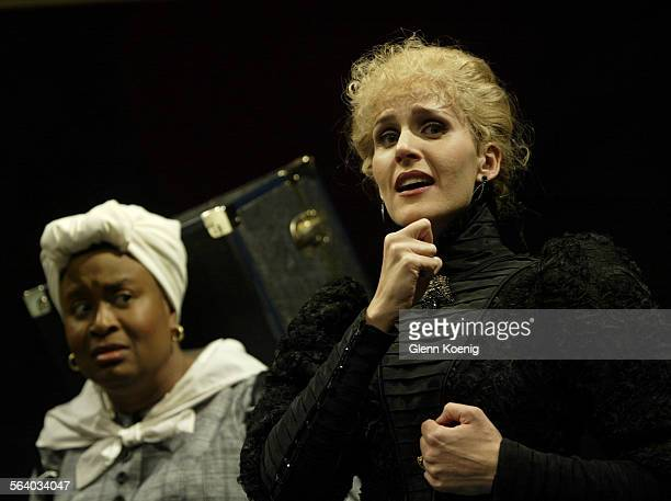 left to right Kimberly Scott and Susannah Schulman as Hedda Gabler during a scene from the stage play The Further Adventures of Hedda Gabler a play...