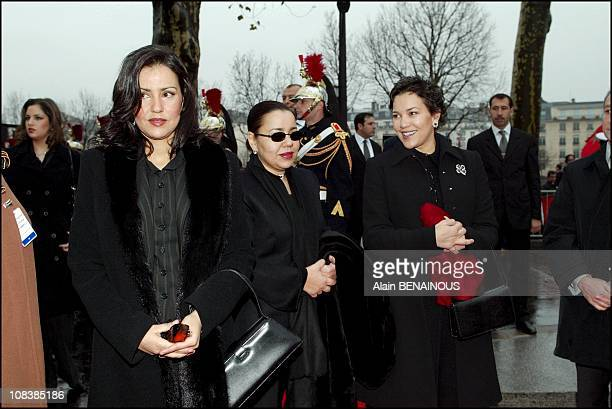 Left to right king Mohammed VI sisters Lalla Meriem Lalla Asma and Lalla Hasna in Paris France on December 20 2002