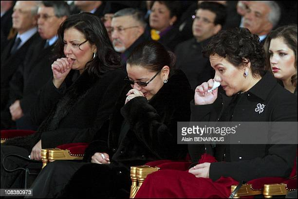 Left to right Lalla Meriem Lalla Asma and Lalla Hasna sisters of Mohammed VI in Paris France on December 20 2002