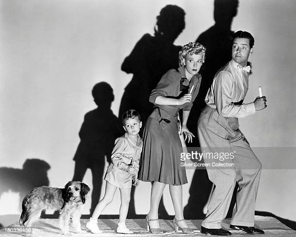 Larry Simms as Baby Dumpling Bumstead Penny Singleton as Blondie Bumstead and Arthur Lake as Dagwood Bumstead in a promotional still for 'Blondie Has...