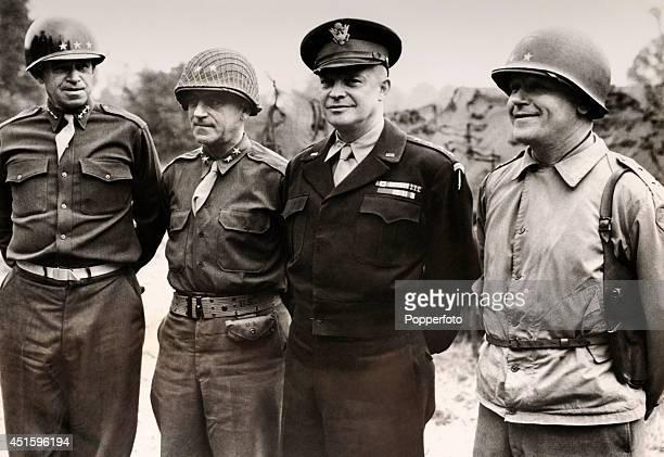Left to right, Lieutenant General Omar Bradley , Major General Leonard T Gerow , Supreme Commander General Dwight Eisenhower and Major General James...