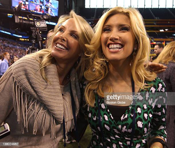 Left to right Linda Holliday girlfriend of Patriots head coach Bill Belichick and Bianca de la Garza NewsCenter 5 television anchor at Superbowl...