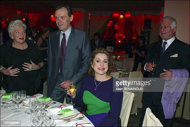 Left to right Line Renaud Jean Jacques Aillagon Catherine Deneuve and Jean Claude Brialy in Paris France on January 22 2003