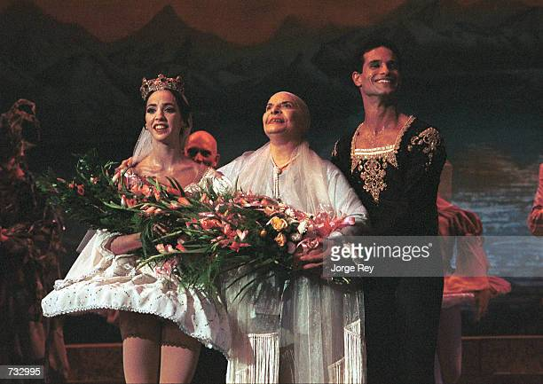 Left to right Lorna Feijoo Prima Ballerina Assoluta Alicia Alonso and Jose Manuel Carreno receive applause during the 17th Havana International...