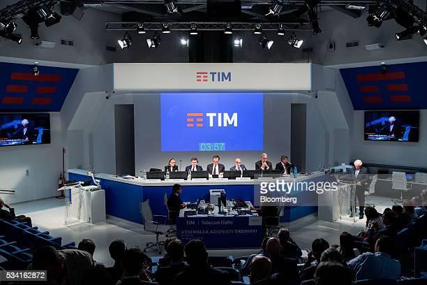 Left to right, Lucia Calvosa, board member of Telecom Italia SpA, Flavio Cattaneo, chief executive officer of Telecom Italia SpA, Giuseppe Recchi,...