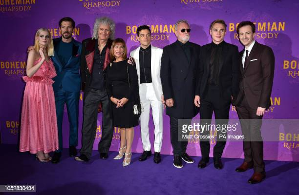 Left to right Lucy Boynton Gwilym Lee Brian May Kashmira Cooke Rami Malek Roger Taylor Ben Hardy and Joseph Mazzello attending the Bohemian Rhapsody...