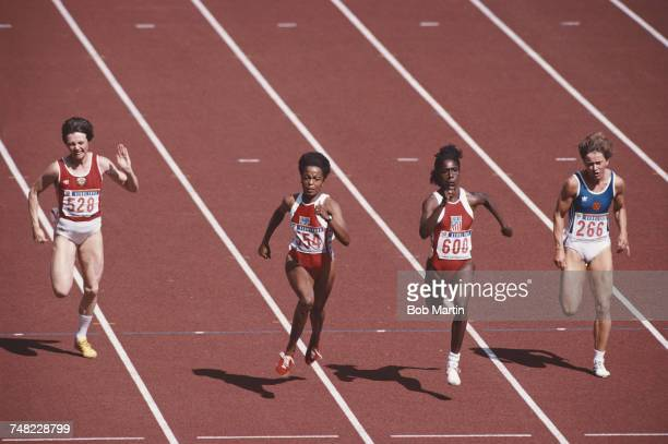 Left to right Lyudmila Kondratyeva of Russia Evelyn Ashford Gwen Torrence of the United States and Marlies Gohr of East Germany compete in the...