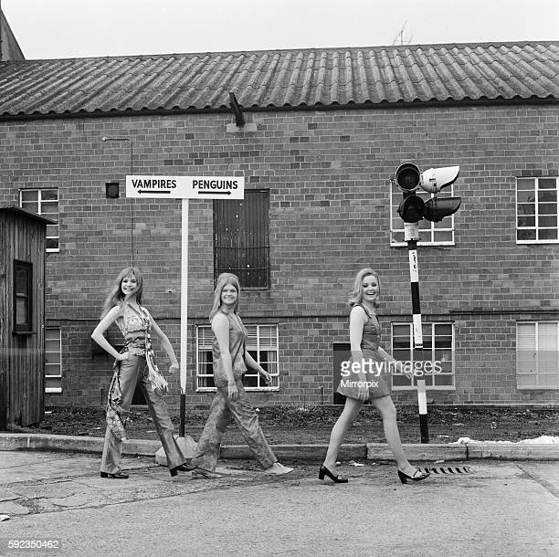 Madeline Smith Janet Key and Pippa Steel photographed running past a signpost on their way to filming their next movie Forbush and the Penguins at...