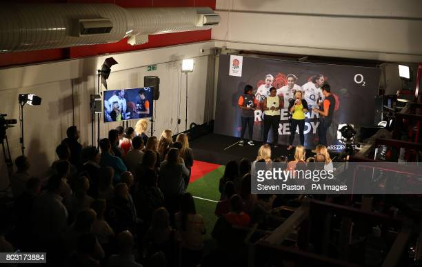 Left to right Maggie Alphonsi Maxine Edwards Vicky Macqueen and Vernon Kay during the squad announcement at Twickenham Stadium London