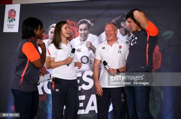 Left to right Maggie Alphonsi Sarah Hunter Simon Middleton and Vernon Kay during the squad announcement at Twickenham Stadium London