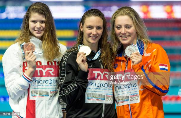 Left to Right Maria Kameneva of Russia Bronze Katinka Hosszu of Hungry Gold and Kira Toussaint of The Netherlands Silver show their medals won in the...