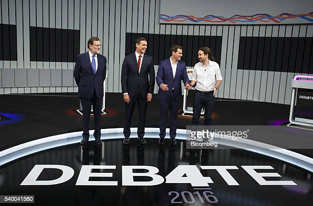 Left to right Mariano Rajoy Spain's prime minister Pedro Sanchez leader of Partido Socialista Obrero Espanol Albert Rivera Ciudadanos party leader...