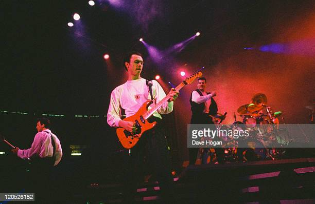 Martin Kemp Gary Kemp and Tony Hadley of British pop group Spandau Ballet performing on stage circa 1985