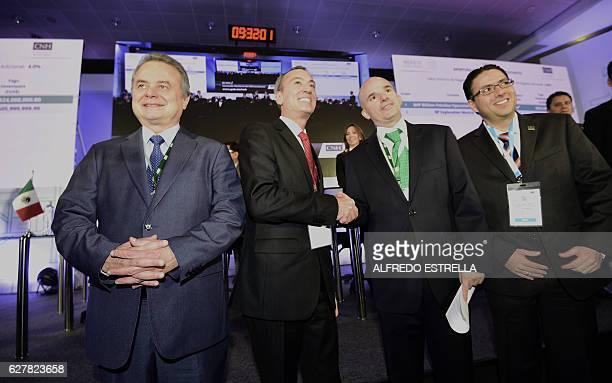 Mexican Energy Minister Pedro Joaquin Codwell Timothy Joseph Callahan a representative of BHP Billiton Petroleo Operaciones de Mexico Pemex oil...