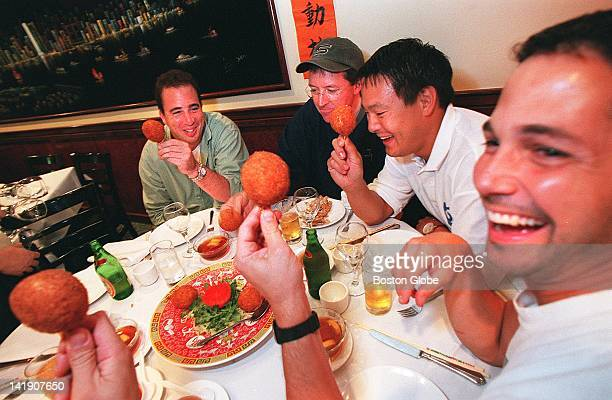 Left to right Michael Schlow chef owner of Radius Paul Connors pastry chef at Radius Ming Tsai chef owner of Blue Ginger and Ken Oringer chef at Clio...