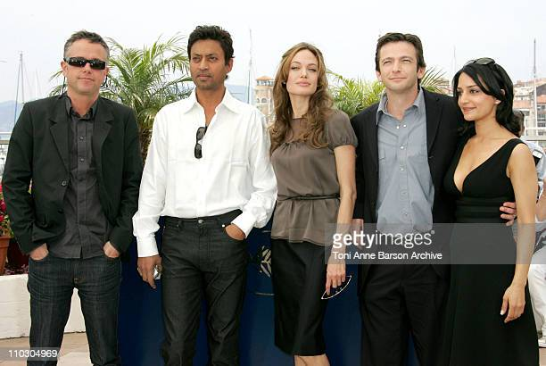 Michael Winterbottom Irrfan Khan Angelina Jolie Dan Futterman and Archie Panjabi at a photocall for A Mighty Heart at the Cannes Film Festival 21st...