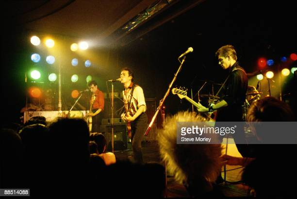Left to right Mick Jones, Joe Strummer and Paul Simonon of British band The Clash perform on stage in 1979.