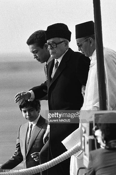 Left to right Moulay Rachid Sidi Mohamed Bourguiba and Hassan II arriving for the 4th Islamic summit in Casablanca Morocco on January 15 1984