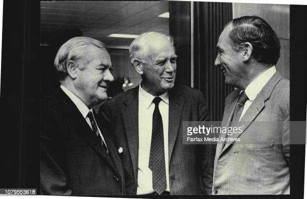 Left to right ; Mr.F.S.Buckley, present of the National park and Wildlife Foundation of NSW; Charles Lindbergh; and Mr. Tom Lewis, Minister for Lands...
