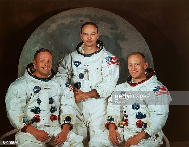 Left to right, Neil Armstrong, Michael Collins, Buzz Aldrin.