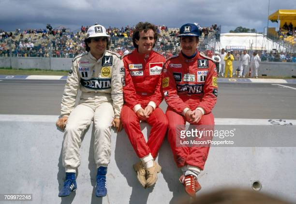 Nelson Piquet of Brazil, Alain Prost of France and Nigel Mansell of Great Britain during the Austrian Grand Prix at Osterreichring on 17th August...