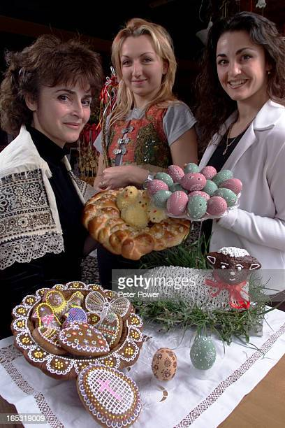 IMAGE Left to right Niki Tichakova Sandra Gattermannova and Katerina Tichakova hold some specially prepared Czech recipes for Easter in Toronto April...