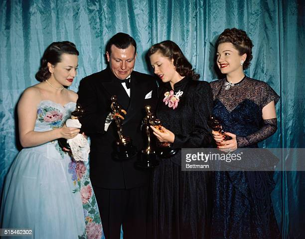 Olivia De Haviland Harold Russell Cathy O'Donnell and Ann Baxter are shown at the Academy Awards