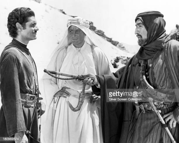Omar Sharif as Sherif Ali ibn el Kharish, Peter O'Toole as T. E. Lawrence, and Anthony Quinn as Auda abu Tayi, in 'Lawrence Of Arabia', directed by...